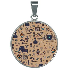 Vintage Tribal Seamless Pattern With Ethnic Motifs 30mm Round Necklace