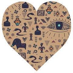 Vintage Tribal Seamless Pattern With Ethnic Motifs Wooden Puzzle Heart
