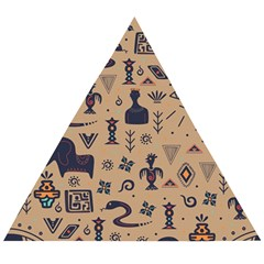 Vintage Tribal Seamless Pattern With Ethnic Motifs Wooden Puzzle Triangle