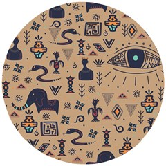 Vintage Tribal Seamless Pattern With Ethnic Motifs Wooden Puzzle Round