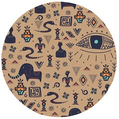 Vintage Tribal Seamless Pattern With Ethnic Motifs Wooden Bottle Opener (Round)