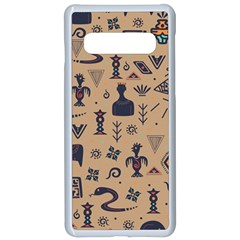 Vintage Tribal Seamless Pattern With Ethnic Motifs Samsung Galaxy S10 Seamless Case(White)