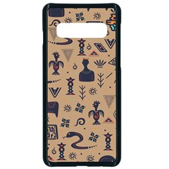 Vintage Tribal Seamless Pattern With Ethnic Motifs Samsung Galaxy S10 Seamless Case(Black)