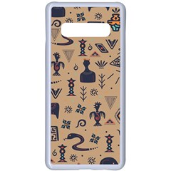 Vintage Tribal Seamless Pattern With Ethnic Motifs Samsung Galaxy S10 Plus Seamless Case(White)