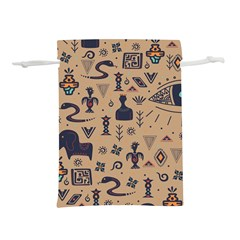 Vintage Tribal Seamless Pattern With Ethnic Motifs Lightweight Drawstring Pouch (M)