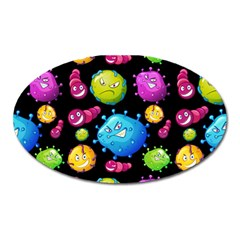 Seamless Background With Colorful Virus Oval Magnet