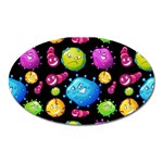 Seamless Background With Colorful Virus Oval Magnet Front