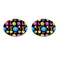 Seamless Background With Colorful Virus Cufflinks (oval) by Vaneshart