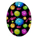 Seamless Background With Colorful Virus Oval Ornament (Two Sides) Front