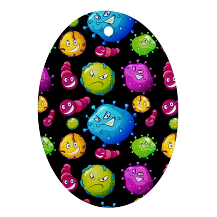 Seamless Background With Colorful Virus Oval Ornament (Two Sides)