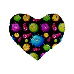 Seamless Background With Colorful Virus Standard 16  Premium Heart Shape Cushions by Vaneshart