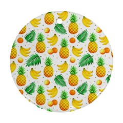Tropical Fruits Pattern Ornament (round) by Vaneshart