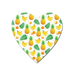Tropical Fruits Pattern Heart Magnet by Vaneshart