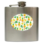 Tropical Fruits Pattern Hip Flask (6 oz) Front