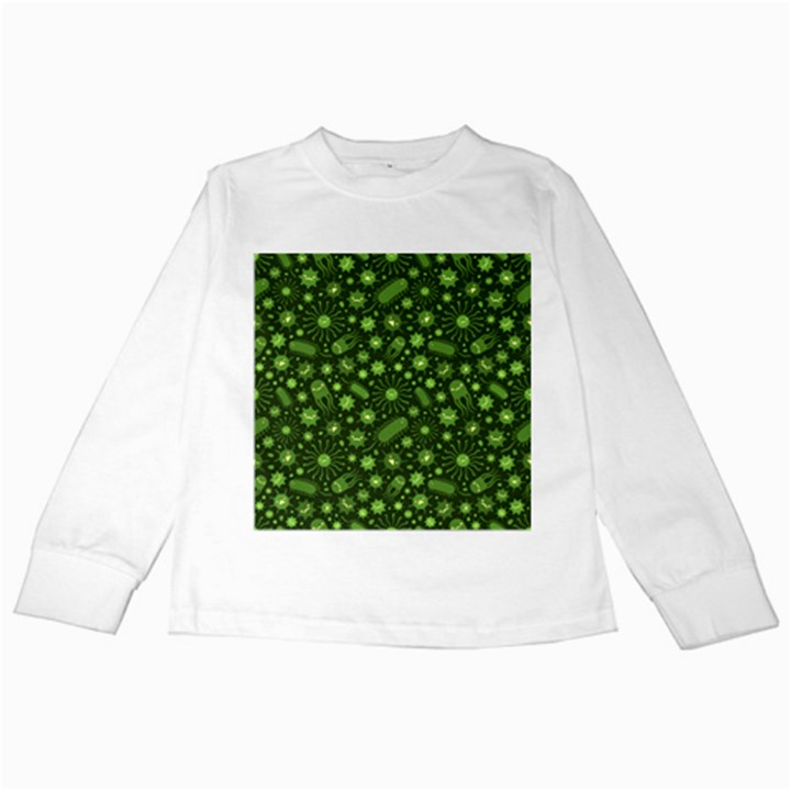 Seamless Pattern With Viruses Kids Long Sleeve T-Shirts