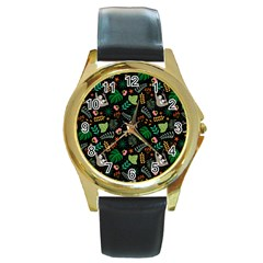 Floral Pattern With Plants Sloth Flowers Black Backdrop Round Gold Metal Watch
