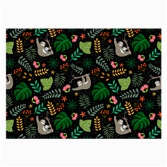 Floral Pattern With Plants Sloth Flowers Black Backdrop Large Glasses Cloth (2 Sides)