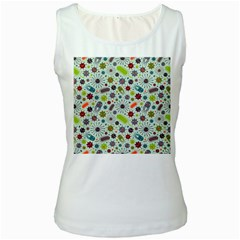 Seamless Pattern With Viruses Women s White Tank Top by Vaneshart