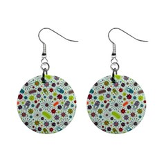 Seamless Pattern With Viruses Mini Button Earrings by Vaneshart