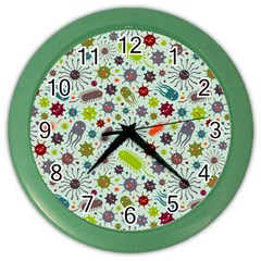 Seamless Pattern With Viruses Color Wall Clock by Vaneshart