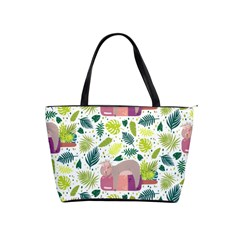 Cute Sloth Sleeping Ice Cream Surrounded By Green Tropical Leaves Classic Shoulder Handbag