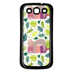 Cute Sloth Sleeping Ice Cream Surrounded By Green Tropical Leaves Samsung Galaxy S3 Back Case (black)