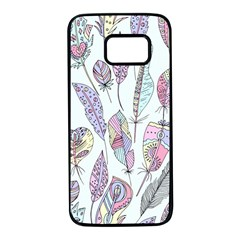 Vector Illustration Seamless Multicolored Pattern Feathers Birds Samsung Galaxy S7 Black Seamless Case