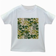 Flower Leaves Background Kids White T-shirts