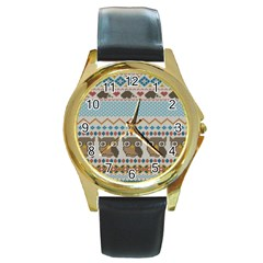 Fabric Texture With Owls Round Gold Metal Watch