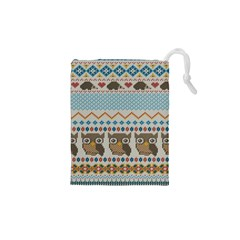 Fabric Texture With Owls Drawstring Pouch (xs)