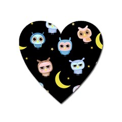 Cute Owl Doodles With Moon Star Seamless Pattern Heart Magnet