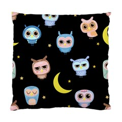 Cute Owl Doodles With Moon Star Seamless Pattern Standard Cushion Case (two Sides)