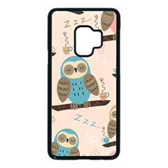 Seamless Pattern Owls Dream Cute Style Fabric Samsung Galaxy S9 Seamless Case(black)