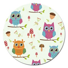 Forest Seamless Pattern With Cute Owls Magnet 5  (round)