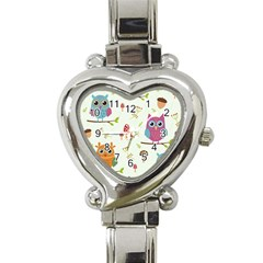 Forest Seamless Pattern With Cute Owls Heart Italian Charm Watch