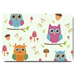 Forest Seamless Pattern With Cute Owls Large Doormat