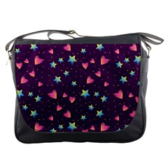 Colorful Stars Hearts Seamless Vector Pattern Messenger Bag