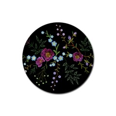 Embroidery Trend Floral Pattern Small Branches Herb Rose Rubber Round Coaster (4 Pack)