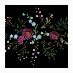 Embroidery Trend Floral Pattern Small Branches Herb Rose Medium Glasses Cloth (2 Sides) by Vaneshart