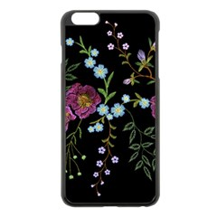 Embroidery Trend Floral Pattern Small Branches Herb Rose Iphone 6 Plus/6s Plus Black Enamel Case by Vaneshart