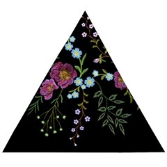 Embroidery Trend Floral Pattern Small Branches Herb Rose Wooden Puzzle Triangle