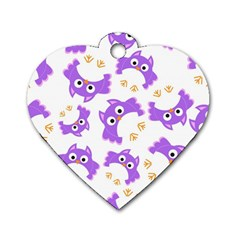 Purple Owl Pattern Background Dog Tag Heart (one Side)