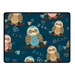 Seamless Pattern Owls Dreaming Double Sided Fleece Blanket (small)