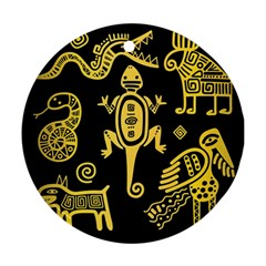 Mexican Culture Golden Tribal Icons Ornament (round)