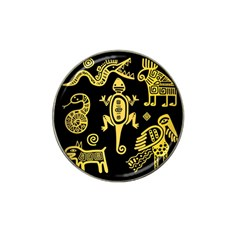 Mexican Culture Golden Tribal Icons Hat Clip Ball Marker (4 Pack) by Vaneshart