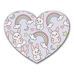 Seamless Pattern With Cute Rabbit Character Heart Mousepads
