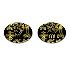 Golden Indian Traditional Signs Symbols Cufflinks (oval) by Vaneshart