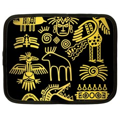 Golden Indian Traditional Signs Symbols Netbook Case (xl) by Vaneshart