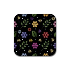 Embroidery Seamless Pattern With Flowers Rubber Square Coaster (4 Pack)