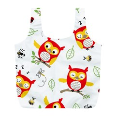 Seamless Pattern Vector Owl Cartoon With Bugs Full Print Recycle Bag (l)